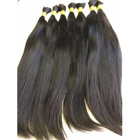 Cabelo Natural Humano Virgem Liso Preto 55cm 100g Mega Hair
