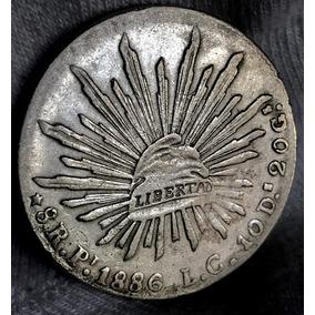 Moneda 8 Reales San Luis Potosi 1886 L C Escasa Plata