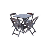 Conjunto Bar E Restaurante Mesa 70x70 4 Cadeiras Em Madeira