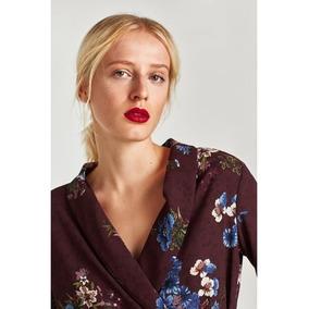 Blusa Cruzada Zara Estampada Flores Original