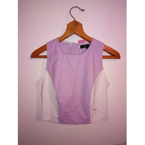 Blusa Crop Top Casual Corte Princesa Lila Blanco