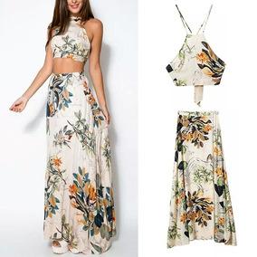 Conjunto Saia Longa + Top Cropped Florido Elegante Importado