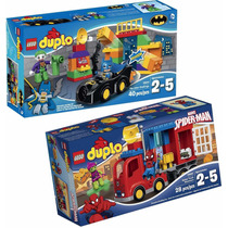 2 X Lego Batman Duplo 10544 Auto + 10608 Spiderman - 68 Pzas