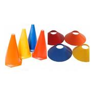 Kit 20 Cones 23cm + 20 Chapeu Chines Funcional Agilidade