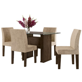 Mesa De Jantar 4 Lugares Cadeiras Estofadas Tampo De Vidro