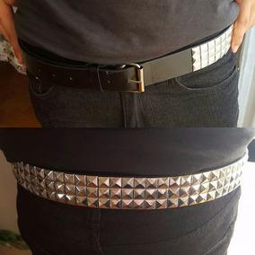 Cinturon Cuero 3 Filas De Tachas Plateadas Heavy Metal Rock