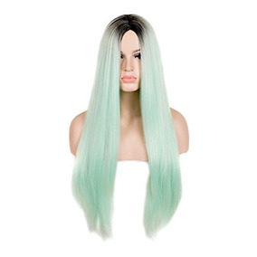 Siyi Long Straight Mint Green Wig Ombre Dark Brown Root Synt
