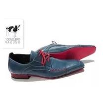 Zapato Hombre Priamo Italy Pr000118 Cuero Azul. Envio Gratis