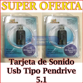 Tarjeta De Sonido Usb 3d Virtual 5.1 Tipo Pendrive Laptop Pc