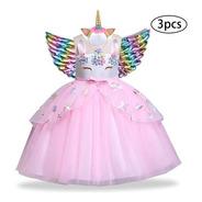 Vestido Unicórnio Encantado Magia Festa Infantil Asa Chifre