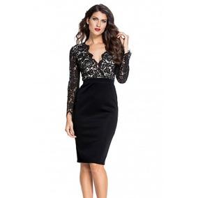 Vestido Negro Encaje Arriba Fiesta Antro Elegante