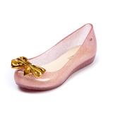 Sapatilha Sapato Infantil Feminina Melissa Rosa Laço Dourado