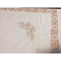 Unico Europeo Antiguo Mantel Hilo Detalle De Mariposa Oval