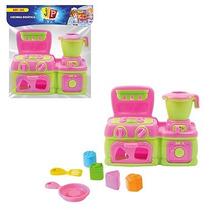 Kit Brinquedo Colorido Fogão E Liquidificador Cozinha
