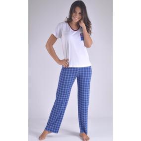 Pijama Pantalon Largo Marinera Corta Mujer Femenina F8905