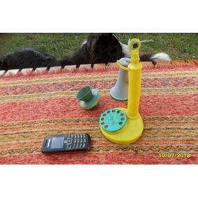 Antiguo Telefono Juguete Candelero Jugal A Pegar Leer
