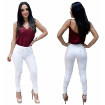 Calça Jeans Feminina Hot Pants Cintura Alta Branca