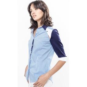 Camisa Poplin Rayada Recorte En Hombros Combinada Giacca