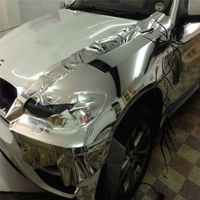 Vinilo Cromado Plata Moldeable Autos Motos Ploteos 152x50 Cm
