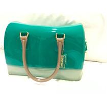 Bolsa De Furla Grande De Silicon Azul / Verde Candybag