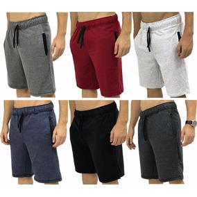 6 Bermuda Moletom Moletim Shorts Slim Fit Calção Orginal Kit