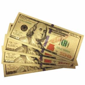 Nota 100 Dólares Folha De Ouro 24k Coleção Dolar Americano