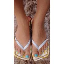 Sandalia Chinelo Tipo Havaianas Estampado Com Strass Barato
