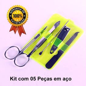 Kit Para Unhas Manicure Pedicure Em Aço Estojo Com 5 Peças