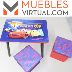 Mueble Infantil - Mesa + 2 Puff Cars