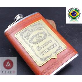 Cantil Whisky Jack Daniels Aço Inox Couro Vermelho Pu 266ml