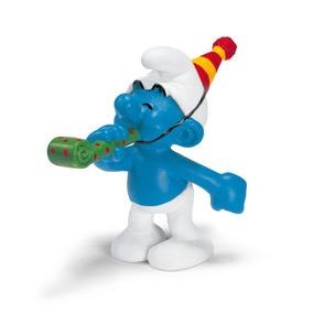 Schleich Réplica De Figura De Pitufo De Fiesta, Color Azul C