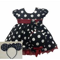 Vestido Infantil Tema Minnie Vermelho E Preto Chapéu E Tiara
