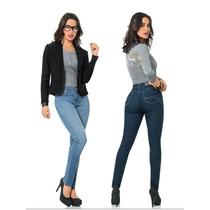 · Jeans Mezclilla Scandia Dama Slim Entubado Levanta Pompas
