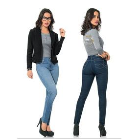- Jeans Mezclilla Scandia Dama Slim Entubado Levanta Pompas