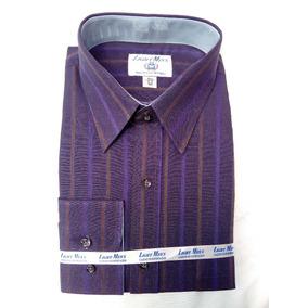 Camisa De Vestir Purpura Con Rayas Uva Y Café