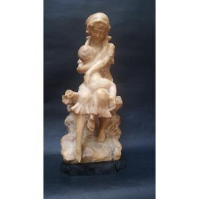 Escultura Em Alabastro, Mamãe Com Bebê, Alberto Saccardi