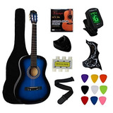 Guitarra Acustica Ymc 38 Inch Azul Set Completo Importada