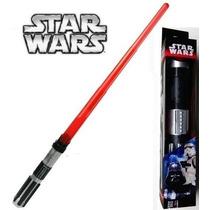 Espada Sabre Star Wars Vermelho 100% Retrátil 75cm Luz E Som