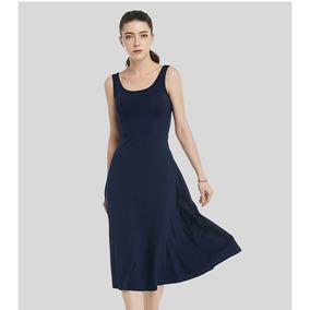 Vestido Casual De Algodão C/ Elastano Azul Marinho
