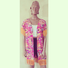 Kimono Fiusha Con Estampado Floral Y Flecos Naranja
