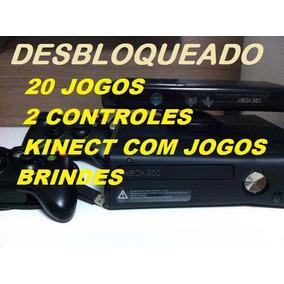 Xbox 360 Debloqueado+20 Jogos+ 2 Controles+kinect+garantia