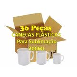 36 Canecas Plasticas Para Sublimação Brancas Aaa