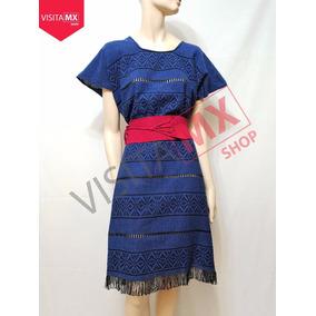 Vestido Telar Azul Con Faja Rosa - 124830