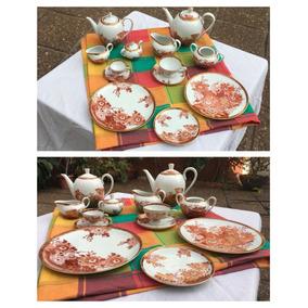 Juego De Té Y Café Porcelana Tsuji Pintada A Mano 67 Piezas