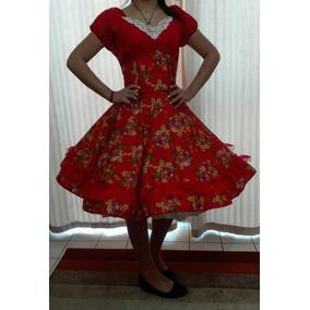 Vestido Huasa China Rojo Floreado Con Falso Competencia