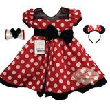 Vestido Fantasia Infantil Festa Minnie Vermelho E Tiara Mini