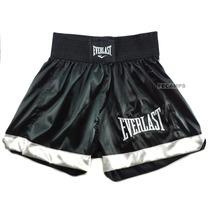 Short Everlast Muay Thai Cetim Leve Mma Boxe Bermuda Bordado