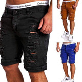 Bermuda Jeans Sarja Shorts Rasgado Varias Cores Moda 2017