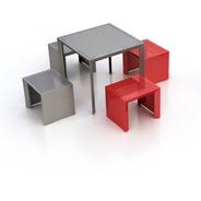 Conjunto Mesa Com 4 Bancos Aço Modelo Arco By Nomen