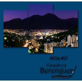 Cuadro Triptico Hambient Cerro Avila Nocturno 60x40cm